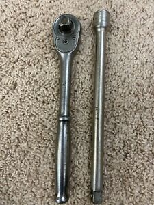 Vintage Snap on 71 10 1 2 Drive Ratchet And Extension works Great