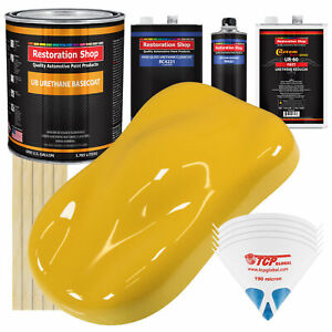 Canary Yellow Gallon Urethane Basecoat Clearcoat Car Auto Paint Fast Kit