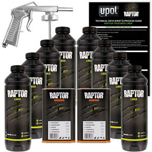 U Pol Raptor Black Urethane Spray On Truck Bed Liner Spray Gun 8 Liters