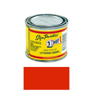 1 4 Pint 1 Shot 102l Fire Red Paint Lettering Enamel Pinstriping One Shot