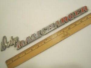 Original Vintage Metal Car Emblem Script Dodge Ram Charger y64b