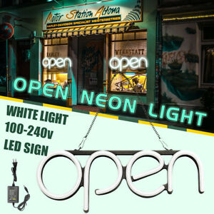 16 x7 White Led Neon Open Sign Shop Store Bar Cafe Business Light Lamp