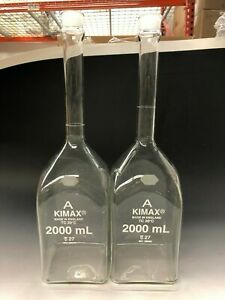 Kimax 28040 2000 2000ml 2l Class A Square Volumetric Flask Lot Of 2