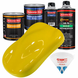 Electric Yellow Quart Urethane Basecoat Clearcoat Car Auto Body Paint Kit