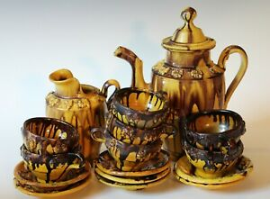 Vintage Mexican Old Pottery Tea Set Teapot Pitcher Cups Saucers Drip Ware