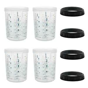 4pk Mps 27 Ounce 800ml Hard Cups Retainer Rings For Disposable Spray Gun Cup