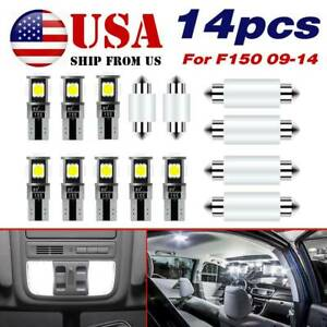 14x White Led Interior Package Kit For Ford F 150 F150 2009 2014 Dome Map Light
