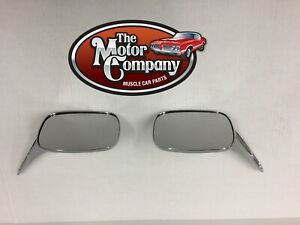 1968 1969 Camaro Chrome Side Rectangular Mirror Smooth Base Pair W hdw In Stk