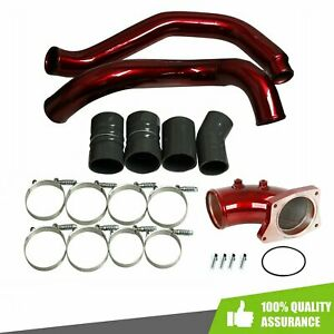 Turbo Intercooler Pipe Intake Elbow Red Kit For 2003 07 Ford 6 0l V8 Powerstroke