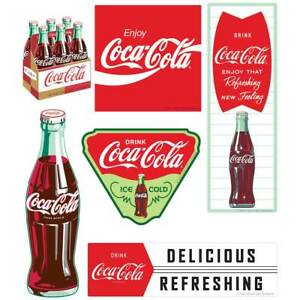 Coca-Cola Vintage Style Art Vinyl Sticker Set of 6 Vintage-Style Decals