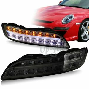 For 04 09 Porsche 911 997 Smoke Housing Drl Led Turn Signal Bumper Lights Lamps