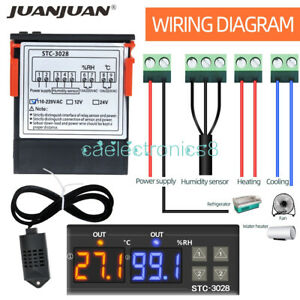 Digital Ac110 220v Stc 3028 Dual Lcd Temperature Humidity Controller Thermostat