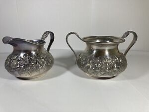 Antique S Kirk Son Sterling Silver Repousse Sugar Bowl Creamer Hand Decorated