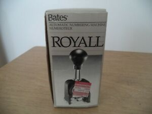 Bates Royall Automatic Numbering Machine Rnm6 7 ioriginal Box instructio
