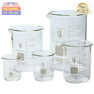 Karter Scientific 3 3 Boro Griffin Low Form Glass Beaker Set 5 Sizes 50ml