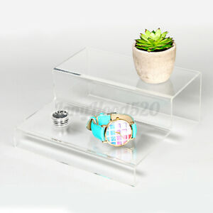 2 Tier Step Acrylic Display Riser Stand Shoes Jewellery Retail Counter Showcase