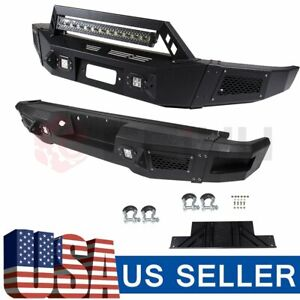 Black Front Rear Bumper Guard For Ford F 150 09 14 Steel Led Lights Long Life