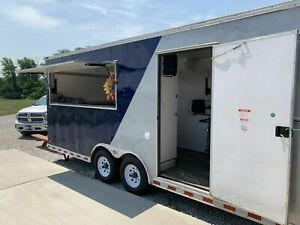 2004 8 X 24 Snowball Concession Trailer W 2000 Wells Cargo Storage Trailer Fo