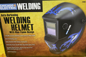 New Chicago Electric Welding Helmet Blue Flame 61610 Auto darkening Lens Mask