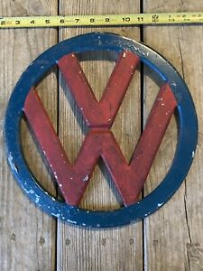 Vintage Volkswagen Vw Bus Transporterchrome Emblem Trim Front 4 Prong 21 Window