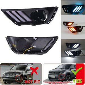 Led Drl Daytime Running Light front Fog Lights For Jeep Compass 17 19