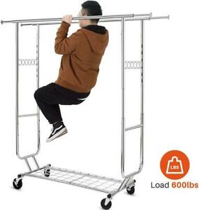 Collapsible Double Heavy Duty Rolling Clothing Garment Rack With Shelves 600lbs