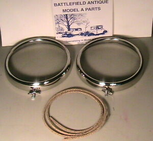 1930 1931 Model A Ford Headlight Stainless Steel Rims And Cork Gaskets