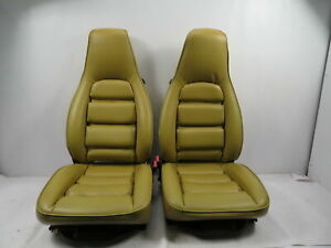 88 Porsche 928 S4 1122 Seat Pair Front 8 Way Power Leather Tan Champagne