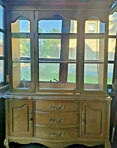 1960s Vintage French Provincial China Cabinet Hutch