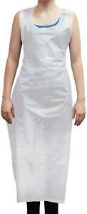 Disposable Poly Aprons 1 21 Mil Thickness White pack Of 50