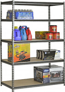 Muscle Rack 5 shelf Steel Shelving Silver vein Adjustable Shelves 48 X 72