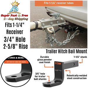 High Strength Steel Towing Trailer Hitch Ball Mount Fits 1 1 4 Inch Receiver New