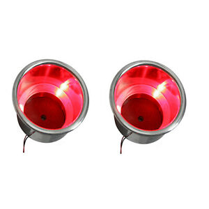 2pcs 3led s Red Stainless Steel Cup Drink Holder Marine Boat Car Truck Camp