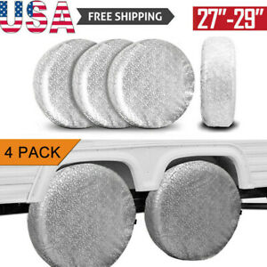 Set Of 4 Tire Covers Wheel Rv Motorhome Trailer Car Sun Protector Fit 27 To 29