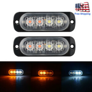 2pcs 4 Led Strobe Lights Emergency Flashing Warning Beacon White Amber 12v 24v