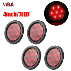 4x Red 4 Round 7 Led Marker Light Trailer Truck Stop Clearence Tail Lamps 12v