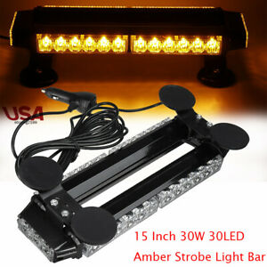 15 Amber 30led Roof Strobe Light Bar Emergency Beacon Warning Flash Yellow 30w