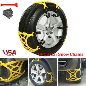 6x Car Anti skid Snow Chains Thick Tendon Emergency Thickening Tire Tool Winter