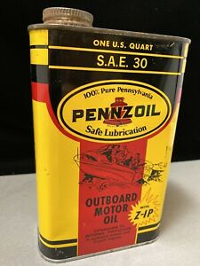 Vintage Sealed Pennzoil Outboard Motor Oil 1 Quart Can 'With Z-IP' Cool Graphic