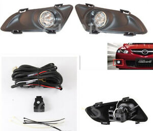 2003 2004 2005 Mazda 6 4d Clear Bumper Fog Lights Pair With Switch Bulb Wiring