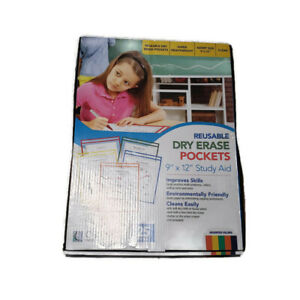 Reusable Dry Erase Pockets 9 X 12 Assorted Primary Colors 25 box School Supply