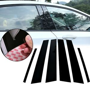 For Toyota Corolla 09 12 6pcs Black Window Pillar Posts Molding Cover Door Trims