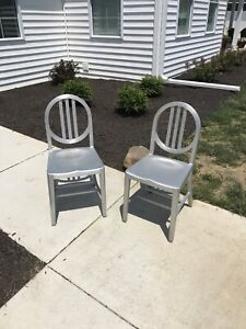 Rare Vintage Emeco Chairs Custom Round Back Aluminum Style Pair Lot Of 2 Set