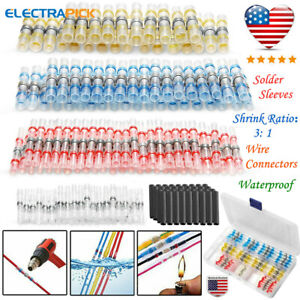 10 26awg Waterproof Solder Sleeve Seal Heat Shrink Wire Butt Terminals Connector