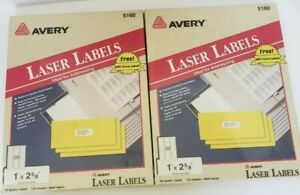 Avery 5160 Laser Labels lot Of 2 Sealed Packs 1 2 5 8 7200 Labels Total new