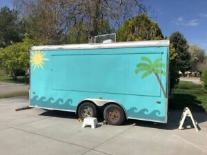 Used 8 X 16 Shaved Ice Concession Trailer Mobile Snowball Business For Sale