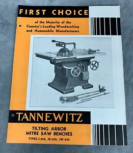 Tannewitz Type J 250 Js 250 Jw 250 Tilting Arbor Table Saw Brochure