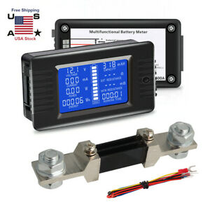 Lcd Display Dc Battery Monitor Meter 0 200v Volt Amp Cars Solar System Shunt
