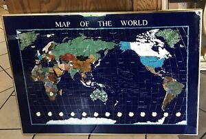 38 X 26 Gemstones Map Of The World Brass Frame