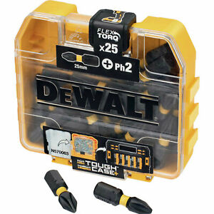 Dewalt Tough Case Torsion Phillips Screwdriver Bits Ph2 25mm Pack Of 25